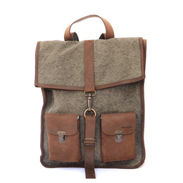 Kjøre Project CLASSIC BACKPACK KLEATHER/GREEN CANVAS