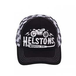 HELSTONS TRUCKER CAP CAFE RACER BLACK-WHITE