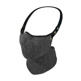 RARE BIRD LONDON BLACK AND GREY HERRINGBONE TWEED FACE MASK [WINTER]